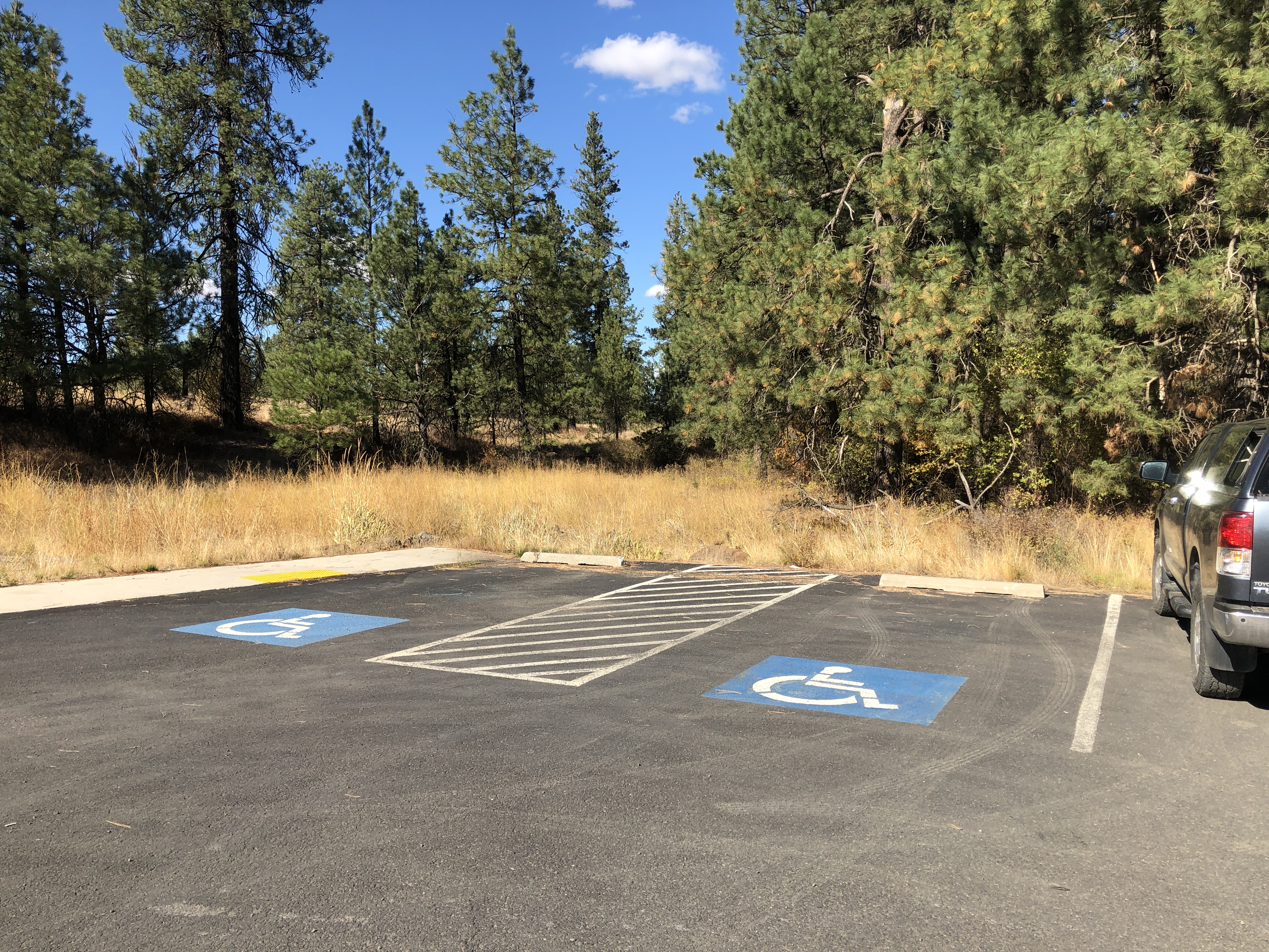 parking lot with 2 accessible spaces and van lift area in between