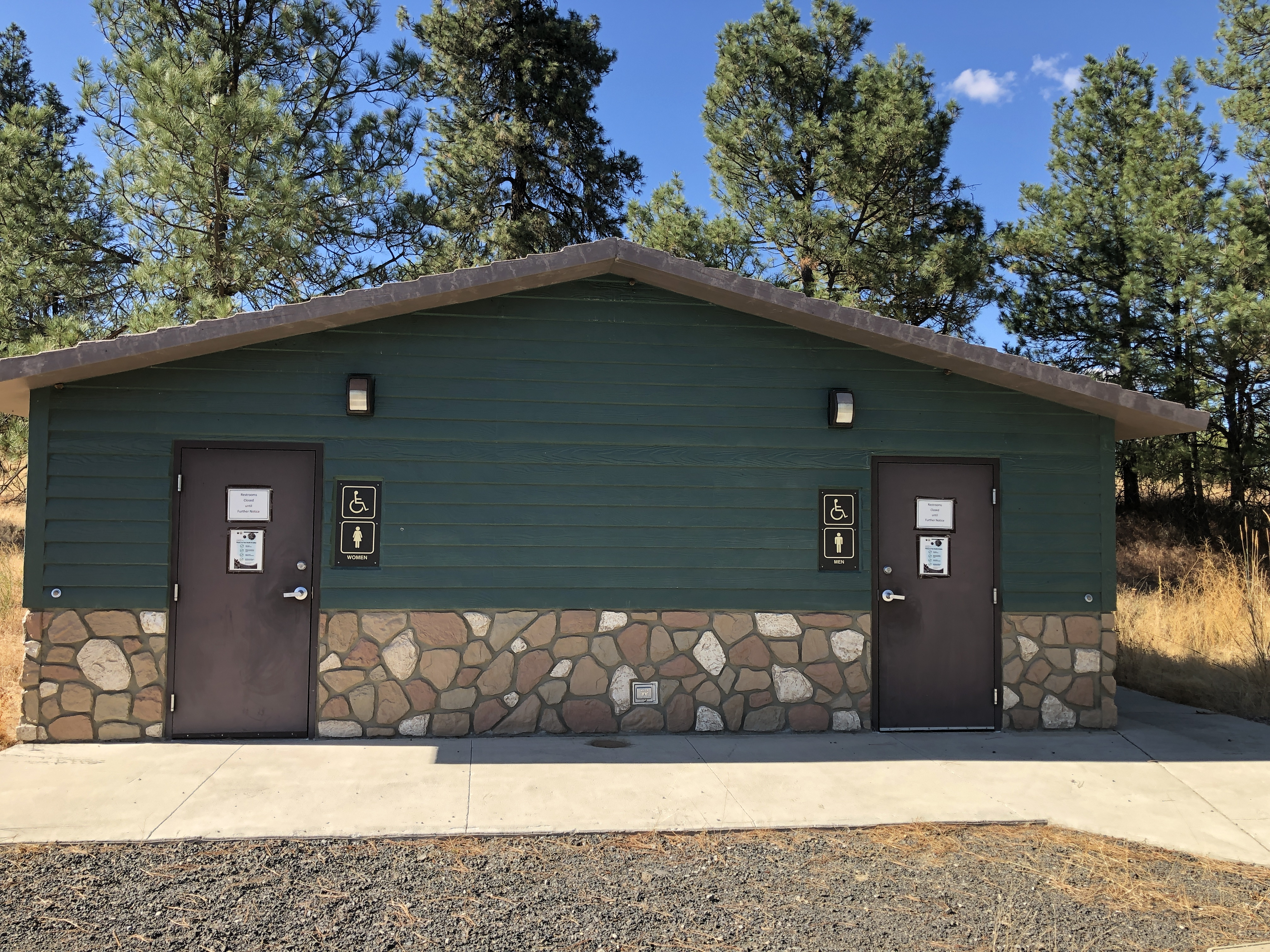 Building with men and women accessible restrooms